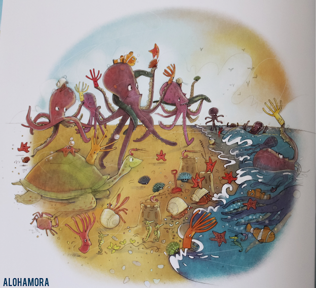 """Going for a Sea Bath by Andree Poulin is a sea animals picture book with a great father-daughter family relationship and a math concept, counting, thrown in there.  4/5 stars for my book review.  Teachers could use this book for a writing prompt as well as a great """"word choice"""" lesson.  marine life, sea animals, word choice, adjectives, teachers, librarians, lessons, fun, bathtime, counting, math. Alohamora Open a Book http://alohamoraopenabook.blogspot.com/"""
