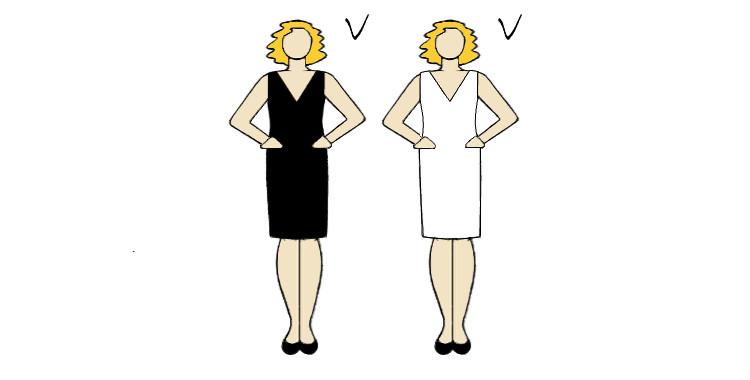 kolor sukienki ukrywający brzuszek i wyszczuplający sylwetkę
