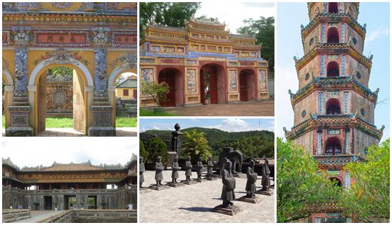 Various architectural, cultural sites in Hué, Vietnam | Photos in this montage © Aneta Ribarska, Bruno Doucin, Patricia Alberth/UNESCO, and Vincent Ko Hon Chiu