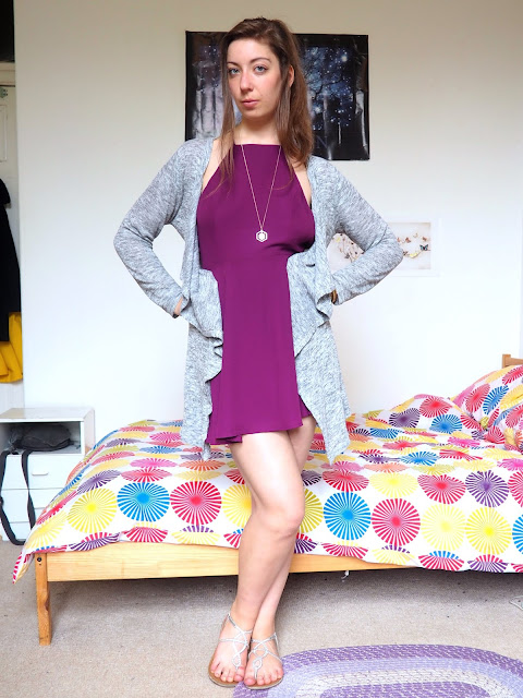 Disneybound outfit as Meg from Hercules - short, bright purple, backless dress, light grey cardigan, silver sandals & gold jewellery