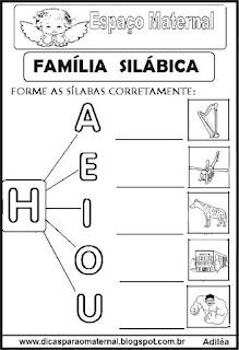 Família silábica alfabetização letra H