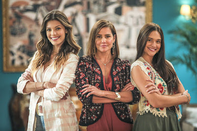 Kyra (Vitória Strada), Alexia (Deborah Secco) e Luna (Juliana Paiva) são as protagonistas de 'Salve-se Quem Puder', a próxima novela das 7 — Foto: Paulo Belote/Globo