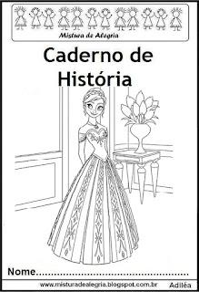 Capa para caderno história Frozen