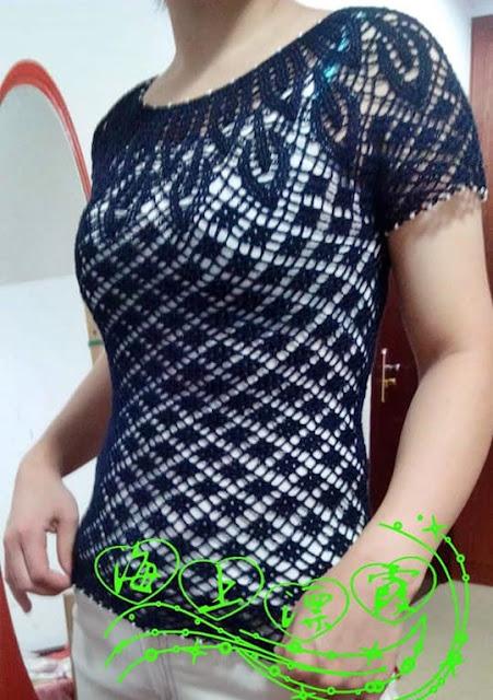 wzory bluzek szydełkowych