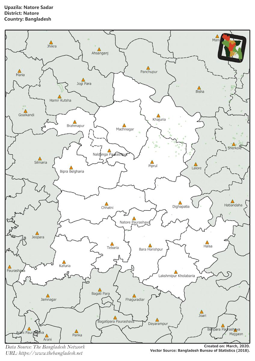 Natore Sadar Upazila Elevation Map Natore District Bangladesh