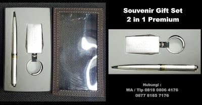 souvenir gift set 2 in 1 promosi, Gift set untuk event, paket bingkisan souvenir esklusif, souvenir pen dan Key Chain, corporate gift suvenir