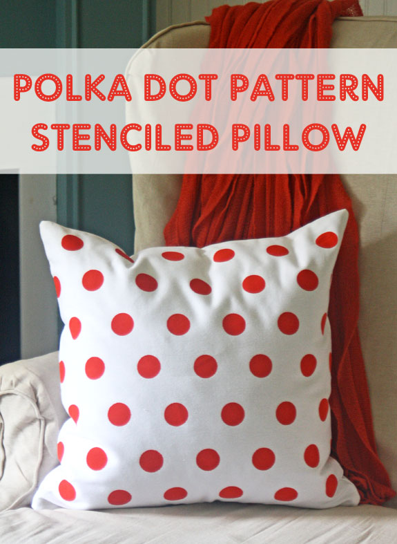 Polka Dot Pattern Stenciled Pillow Happy Crafters