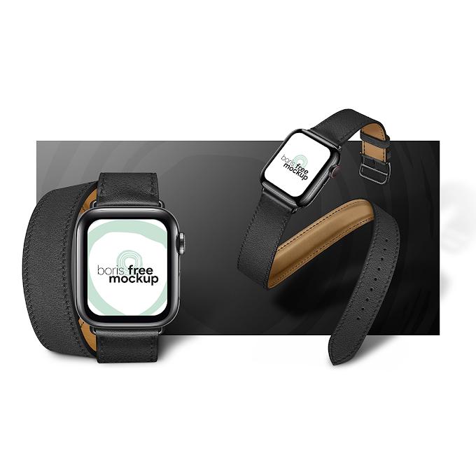 Apple Watch Series 5 black mockup free psd