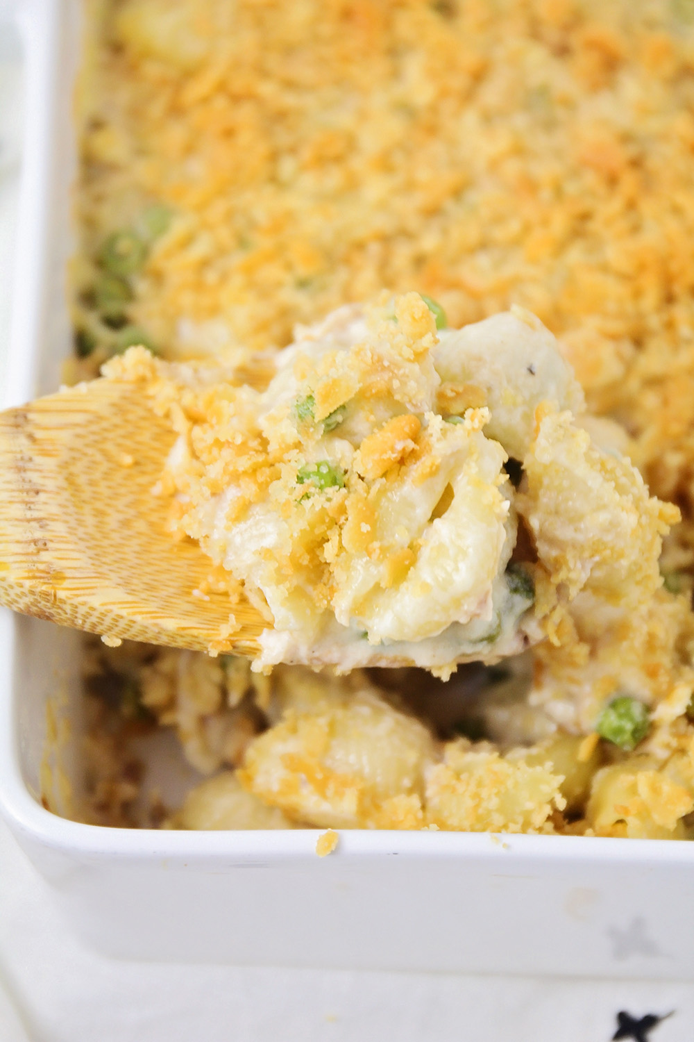 This creamy comfort food tuna casserole is made from scratch, and totally delicious!