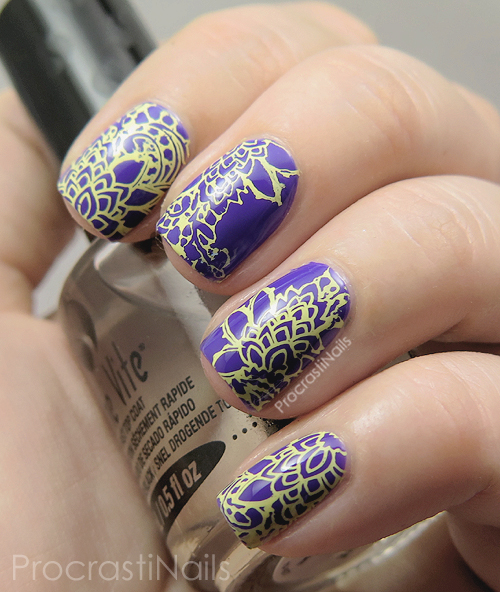 Bright stamping nail art with Essie All Access Pass and Mundo de Unas Pale Yellow