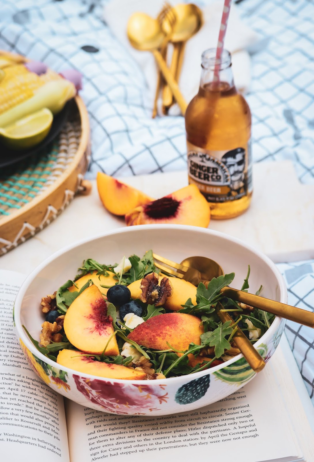 peach walnut crush, summer salad, peach salad, fresh, fall perfect, fall salad, aurgula greens, food blogger, foodies, photography, DIy, myriad Musings .
