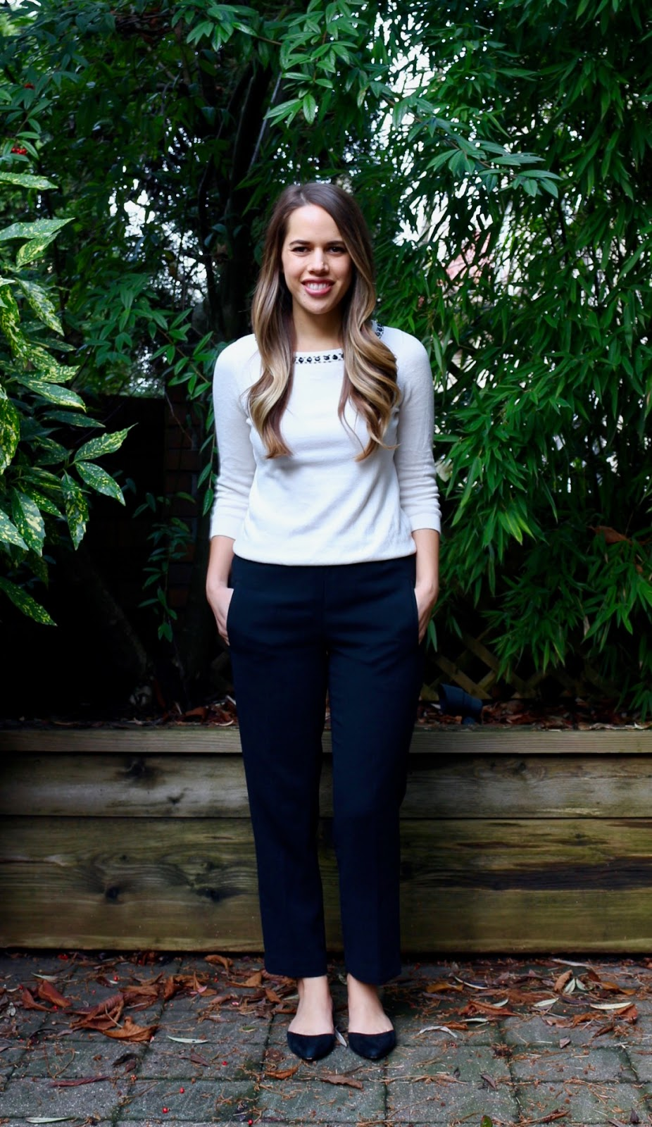 Jules in Flats - White and Black with Aritzia Darontal Pant (Business Casual Winter Workwear on a Budget)