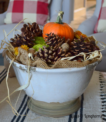 pumpkins, pine cones and other natural elements add a gorgeous touch of fall