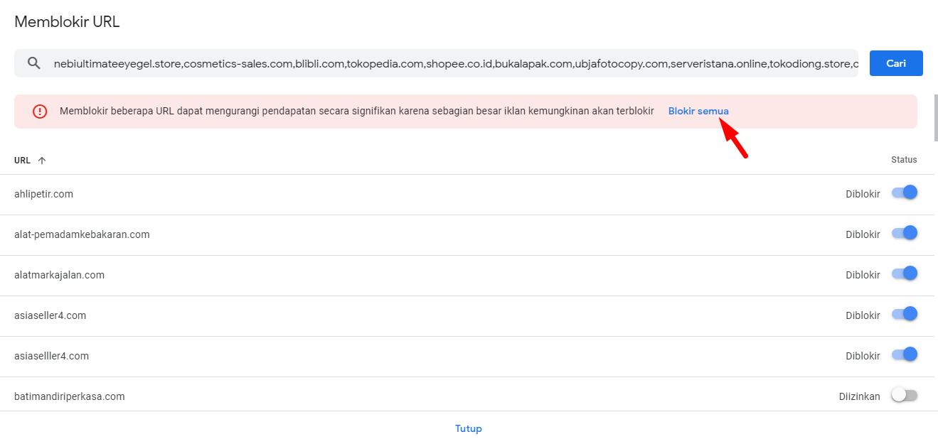Cara Blokir Iklan AdVertiser AdSense CPC Rendah