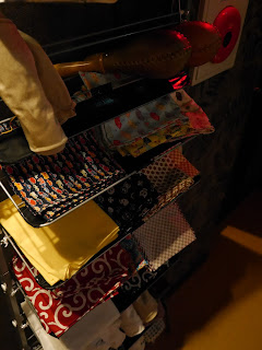 Rack of fundoshi at gay bar Zakoza Bulge Bar, Namba, Osaka.