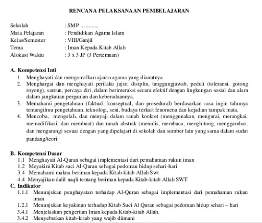 RPP Agama Islam SMP/MTs Kelas 8 Kurikulum 2013 Semester 1 dan 2 docx