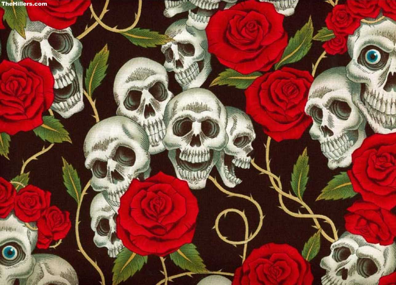 skull and roses wallpapers - photo #1