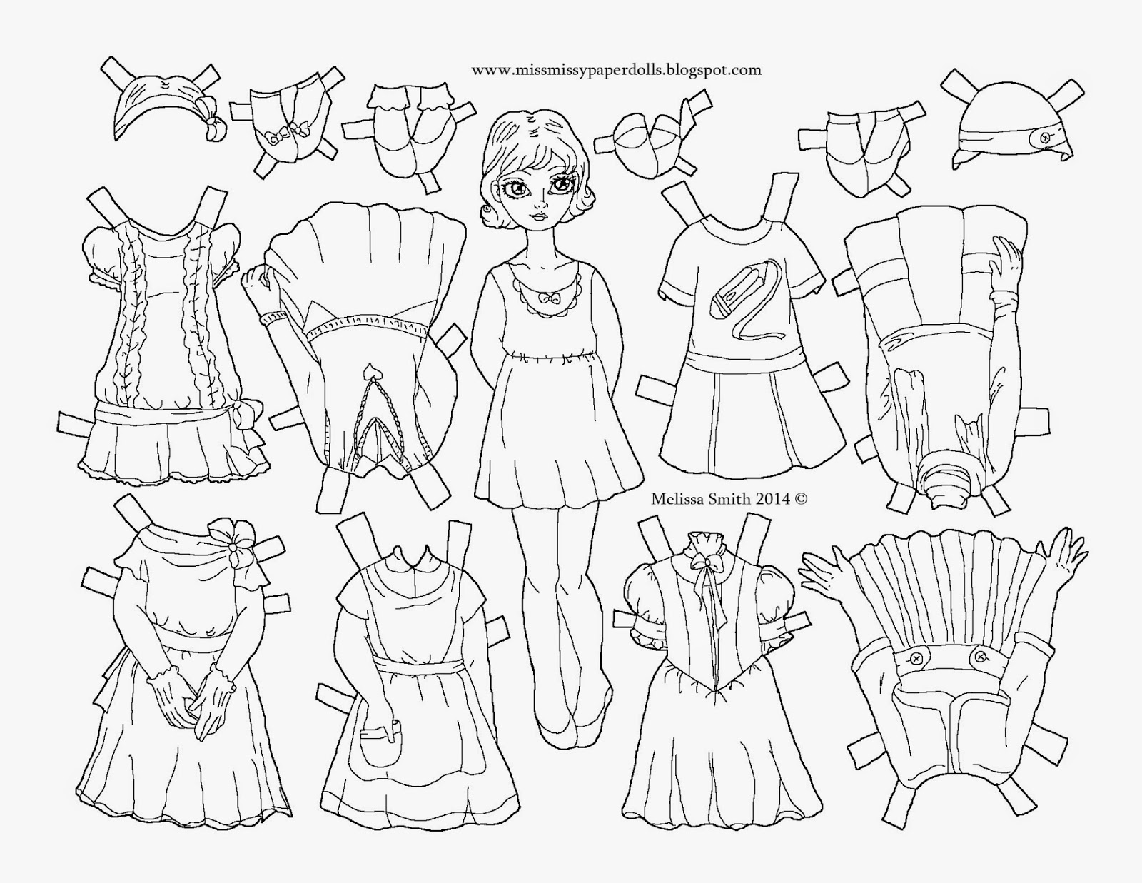 Paper Doll Coloring Pages Sketch Coloring Page