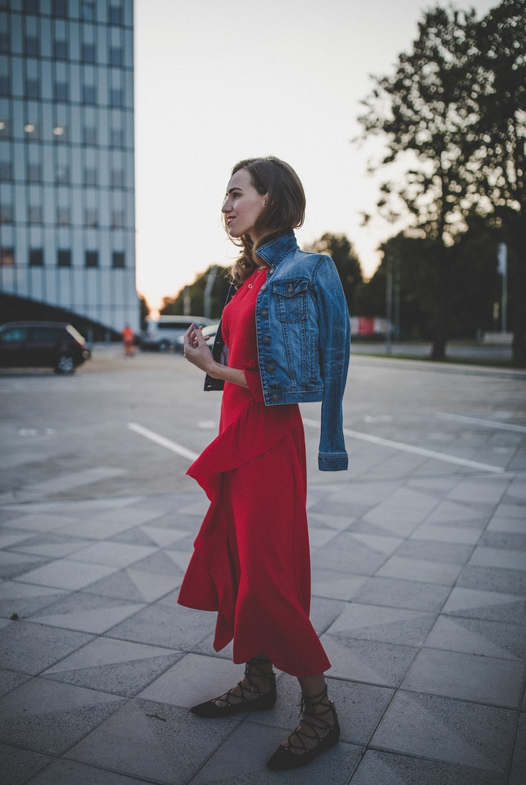red maxi dress denim jacket outfit
