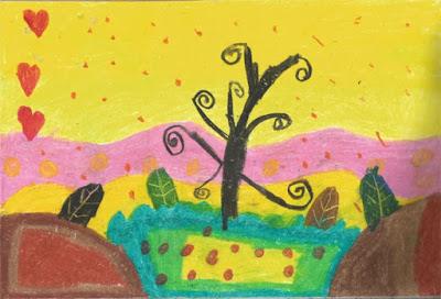 contoh menggambar pohon dan mewarnai