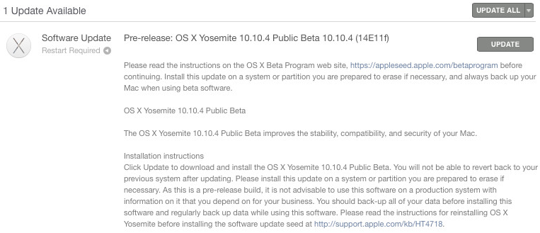 Mac OS X Yosemite 10.10.4 (14E11f) Beta 2