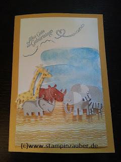 Zoo Babies Geburtstagskarte von Silvi Provolija Stampin' Up! Jena