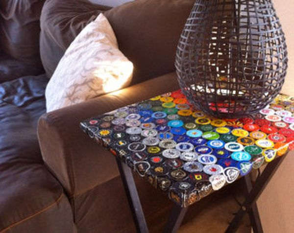 How to recycle bottle cap design on table floor and walls for What can i make with bottle caps