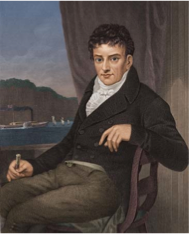 Robert Fulton, with a steamboat in the background