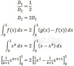 Perbandingan luas daerah D1 dan D2 = 1 : 2
