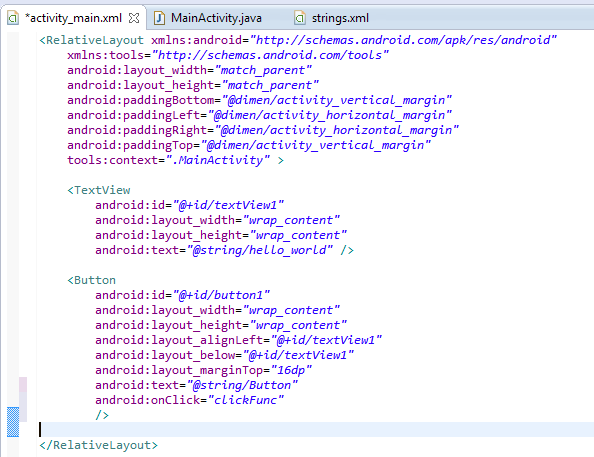 Add click event on Button - what will android mobile application do