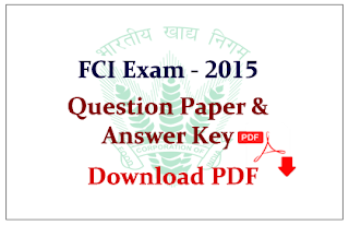 SSC- Food Corporation of India (FCI) Assistant Grade-III Previous Year Question Paper Download