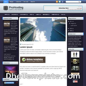 ProHosting blogger template. template blogspot magazine style
