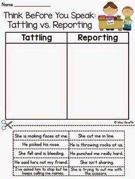 Tattling vs Reporting activities and ideas