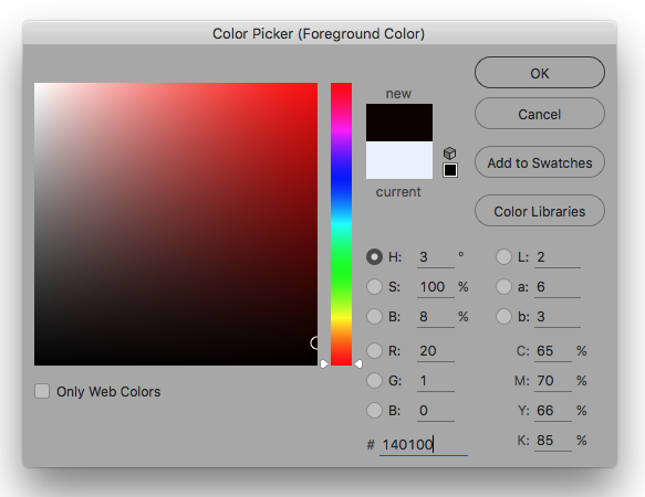 Photoshop Colour Palette