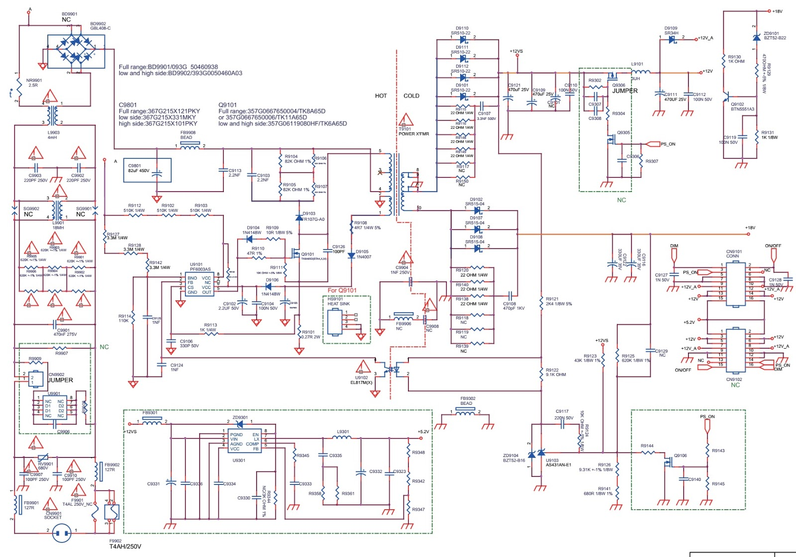Philips 40PFG5100-77 LED LCD TV –SMPS circuit diagram, Pin voltages ...
