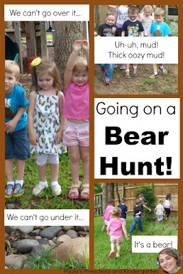 "Check out this fun activity for ""Going on a Bear Hunt"", perfect for preschool and kindergarten kiddos."