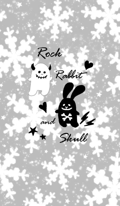 Rock rabbit and skull/gray color winter