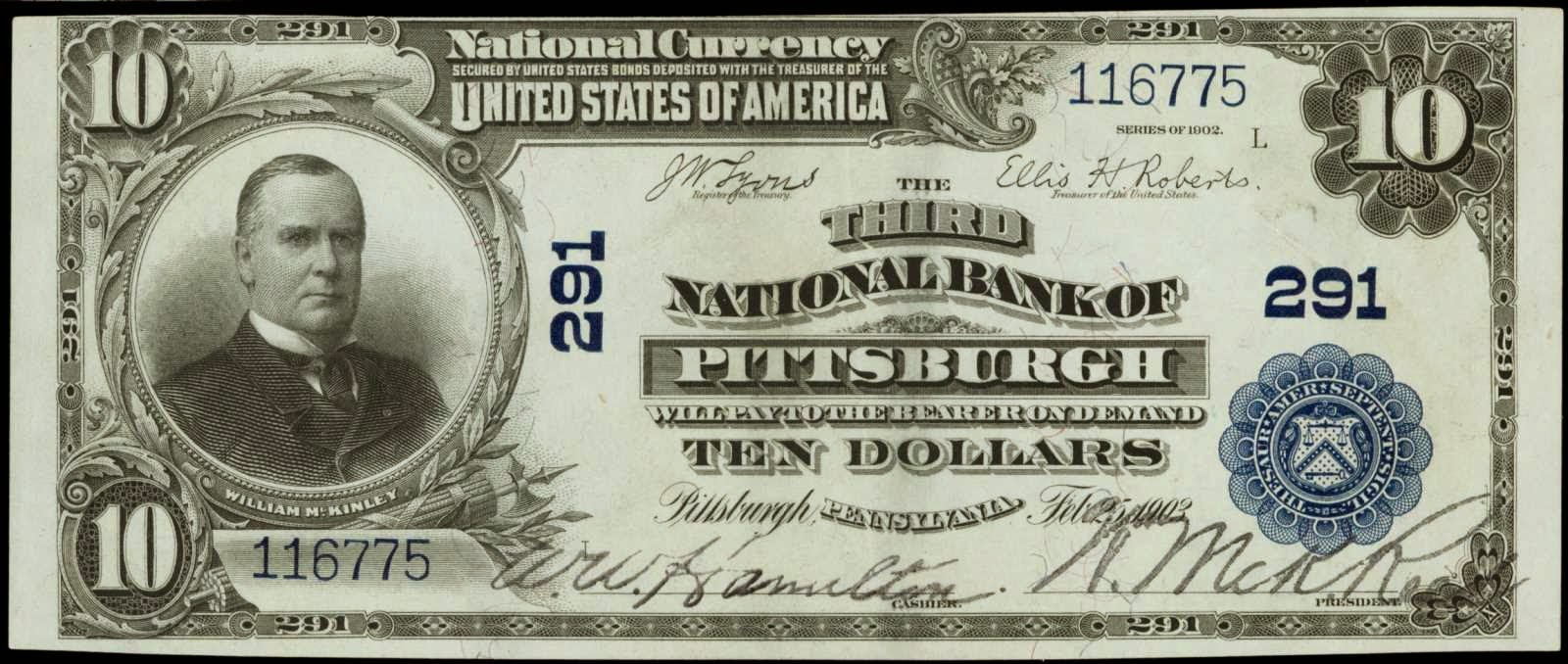 1902 Ten Dollar National Currency Blue Seal McKinley