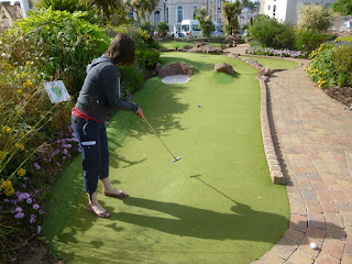 Dinosaur Adventure Golf course at The Den on Teignmouth Sea Front in Devon