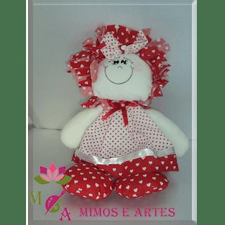Boneca  de pano sorriso cor ; vermelha tecido corações