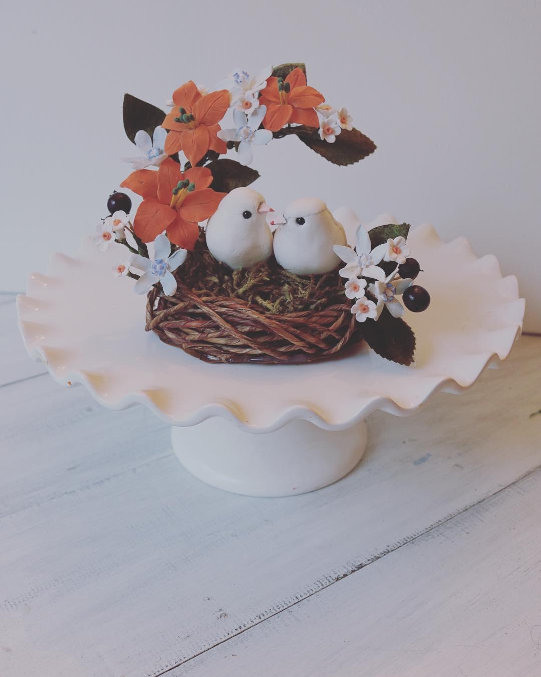 Handmade Forget me nots wedding cake topper bird nest in blue ...