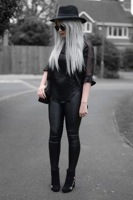 Sammi Jackson - Primark Fedora, Zaful Sunglasses, VIPme Silky Floral Blouse, Choies Leather Look Leggings, Romwe Crucifix Bag, Primark Embroidered Boots