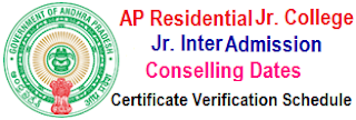 APRJC Inter Counselling, Certificates Verification Dates 2020 MPC, BiPC, MEC, CEC Admission Schedule