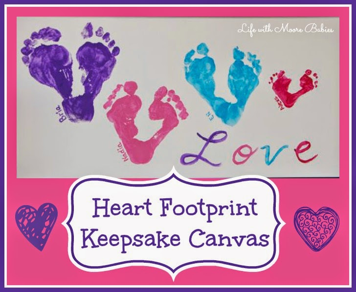Adorable Heart Footprint Canvas Makes a Wonderful Keepsake