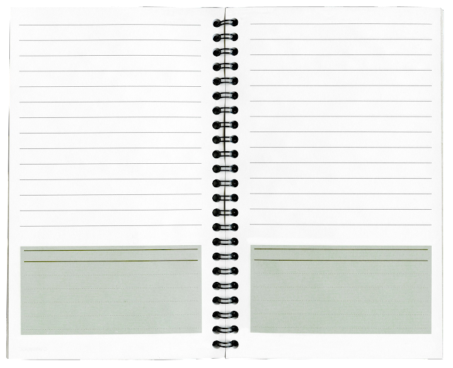 A lined notebook bound by a spiral ring, with lines on facing pages, and a large blank box at the bottom of the page for special notations.