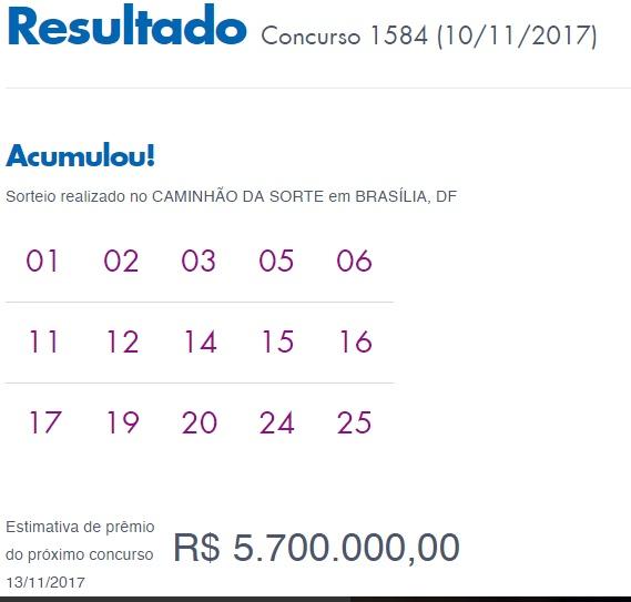 Lotofácil 1584 - Resultado de 10/11/2017