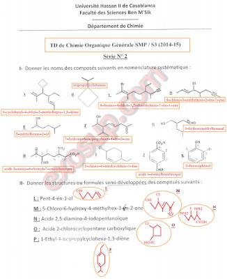 td 2 de chimie organique générale smp s3 ben msik