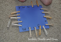 learn letters by matching clothespins to the letter