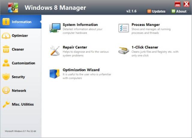 تحميل برنامج تنظيف الكمبيوتر وإصلاحه Windows 8 Manager