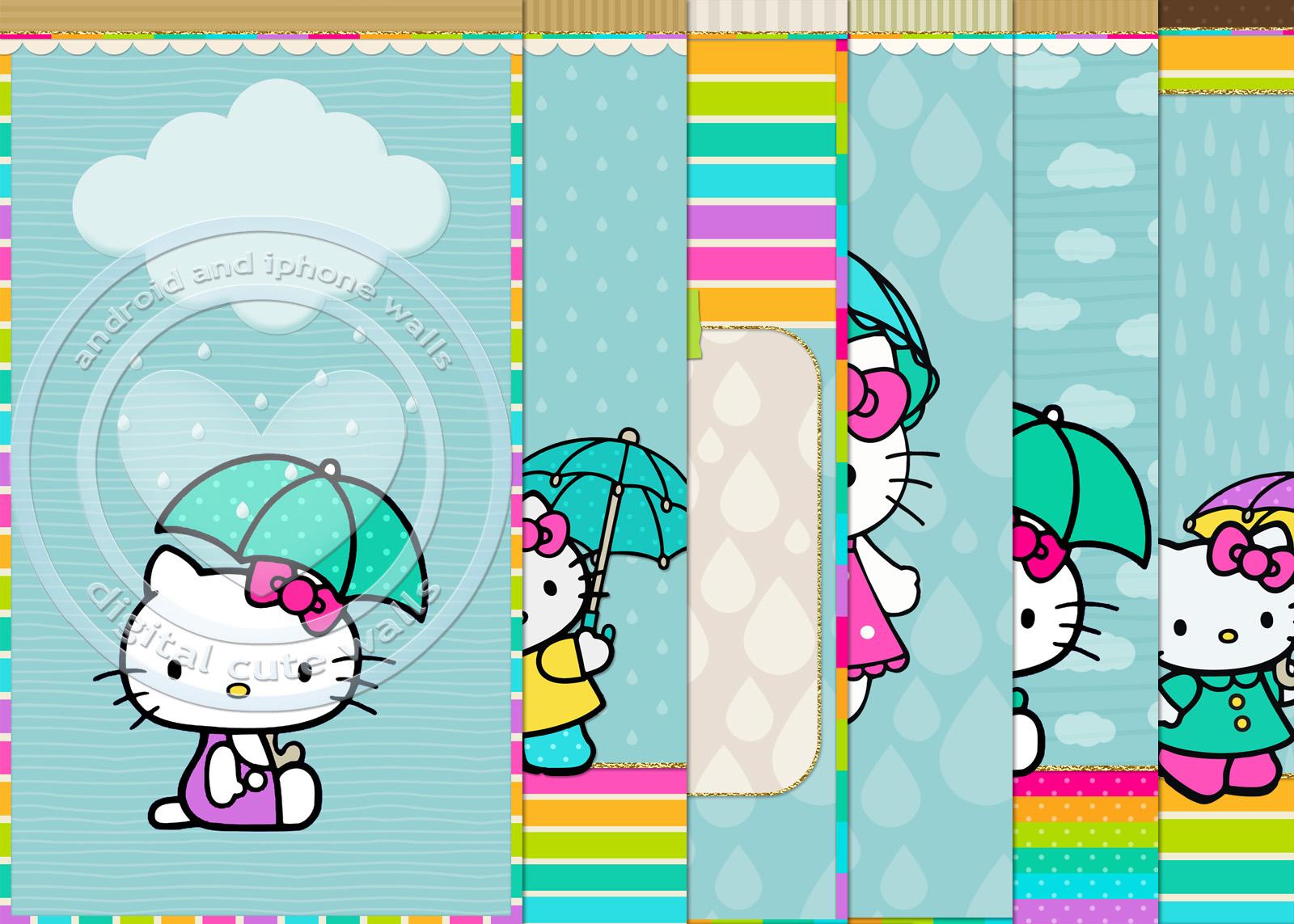 Cute Walls Hello Kitty Umbrella Wallpaper Set